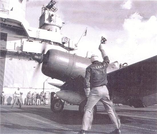 F4U Corsair Being Launched, USS Essex