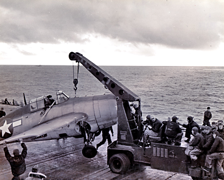 F4F removed from deck - USS Ranger - 1942