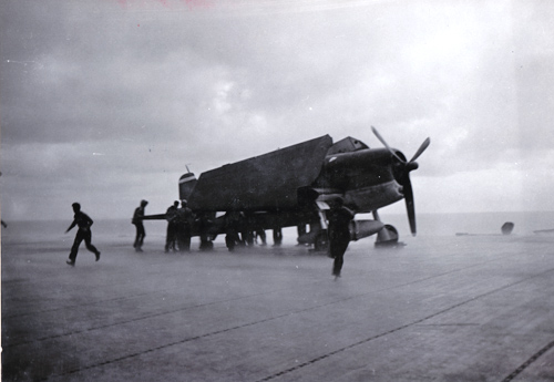 Plane Handlers Secure F6F - USS Essex