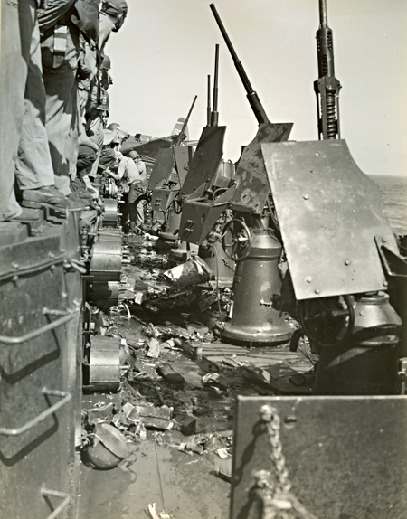 USS Essex Gun Mount Damage