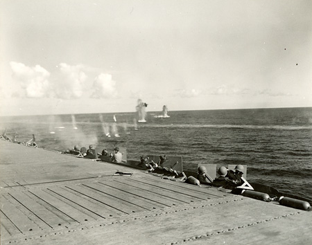 Firing at Submarine Location, USS Ranger