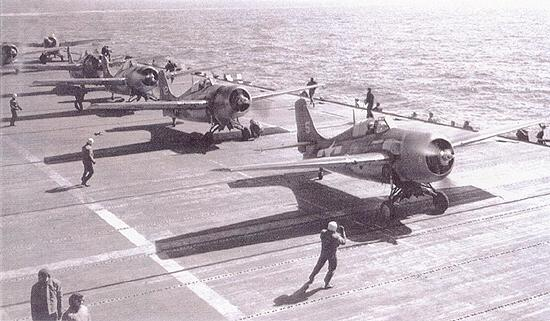 Launching F4F Wildcats, USS Ranger