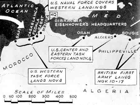 Operation Torch Map, November 1942