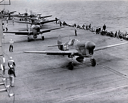 USS Ranger Launching P-40s - 1943