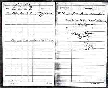 Bill Wade's Flight Log, 1942