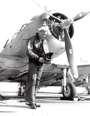 Bill Wade with Graflex, USS Ranger